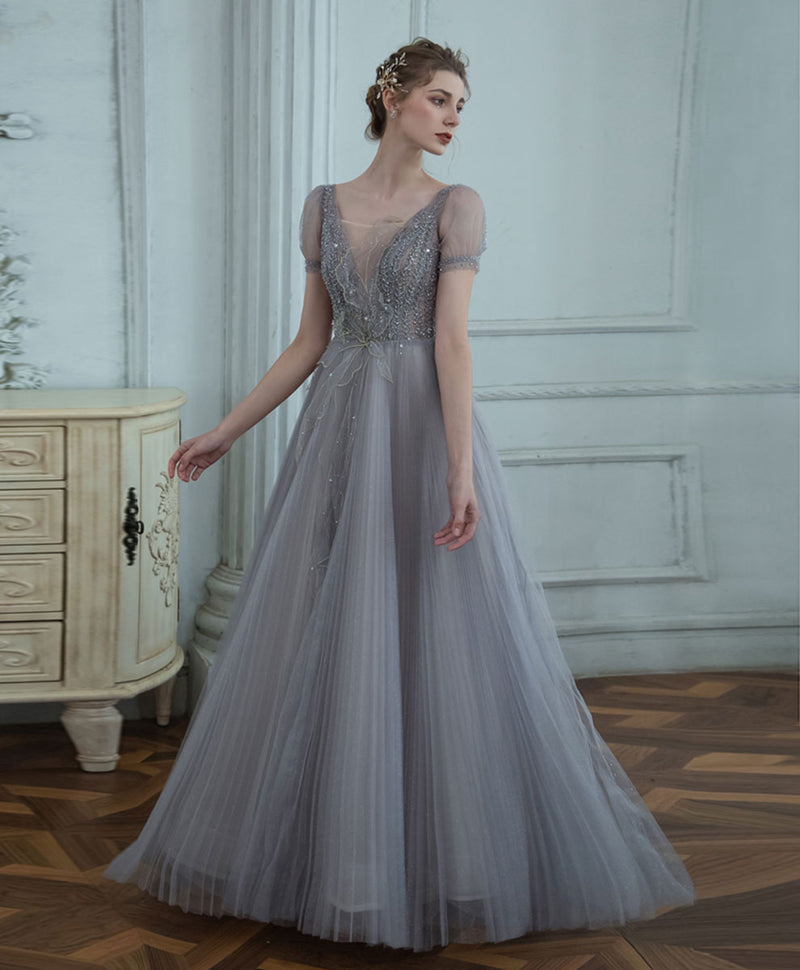 Gray v neck tulle sequin long prom dress gray formal dress