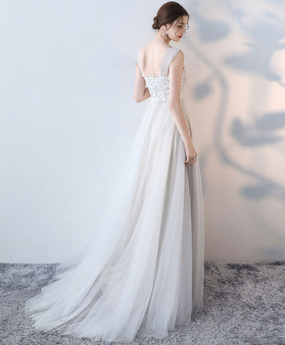 White round neck tulle lace long prom dress white formal dress