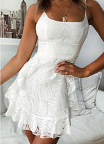 White lace short summer dress white lace women fashion dress