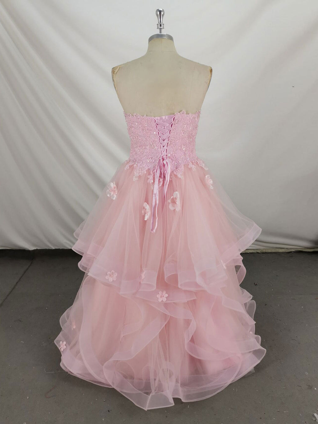 Pink sweetheart tulle lace long prom dress pink tulle lace formal dress