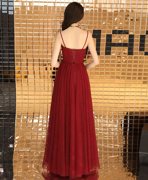 Burgundy sweetheart tulle long prom dress burgundy formal dress
