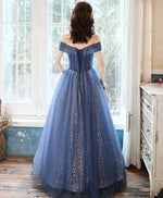 Blue tulle off shoulder long prom dress blue evening dress