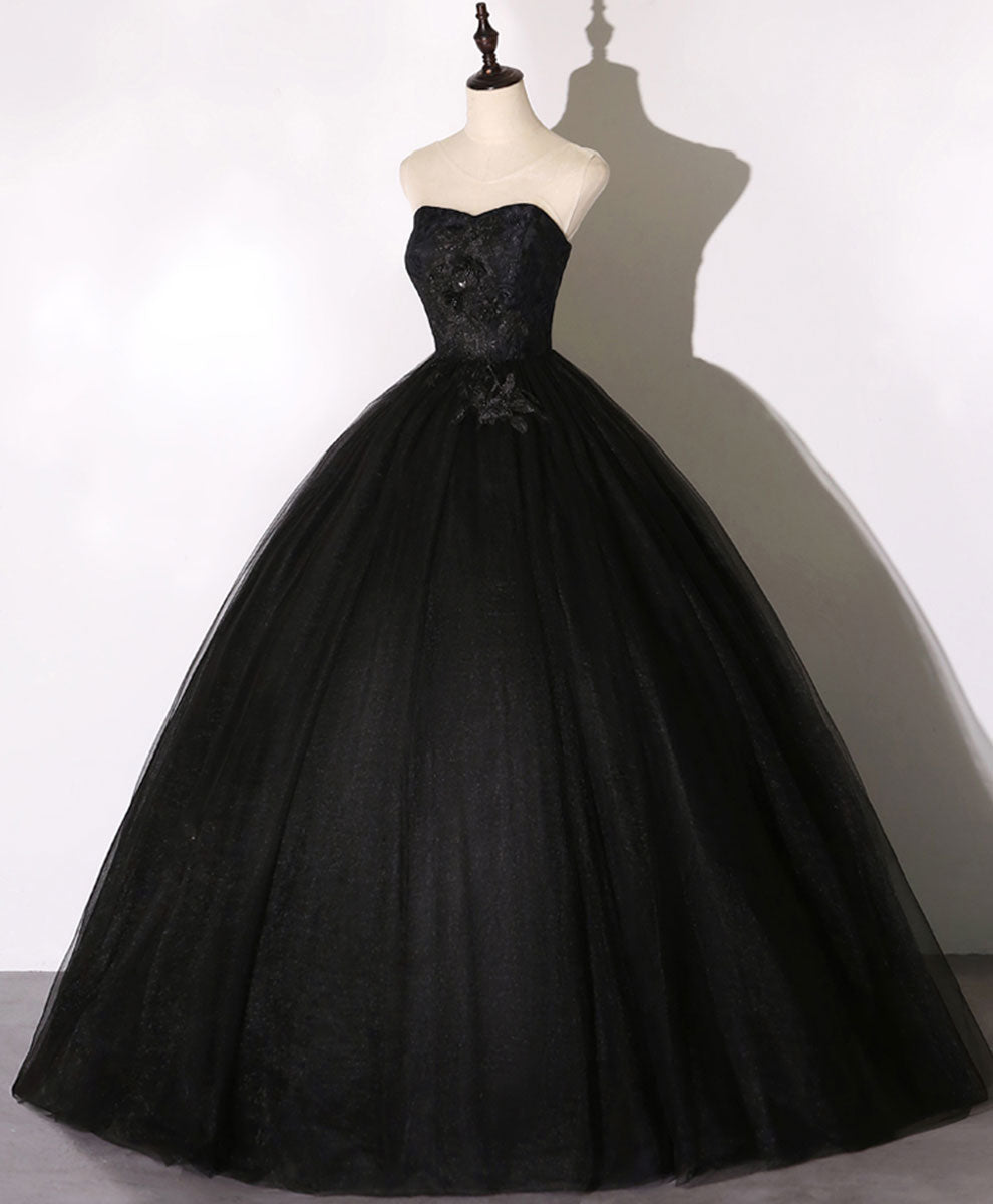 Black sweetheart neck tulle long prom dress black evening dress