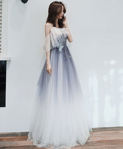White round neck tulle lace long prom dress lace formal dress