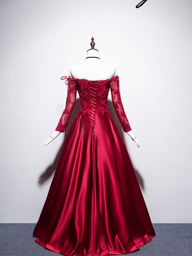 Burgundy sweetheart lace satin long prom dress burgundy evening dress