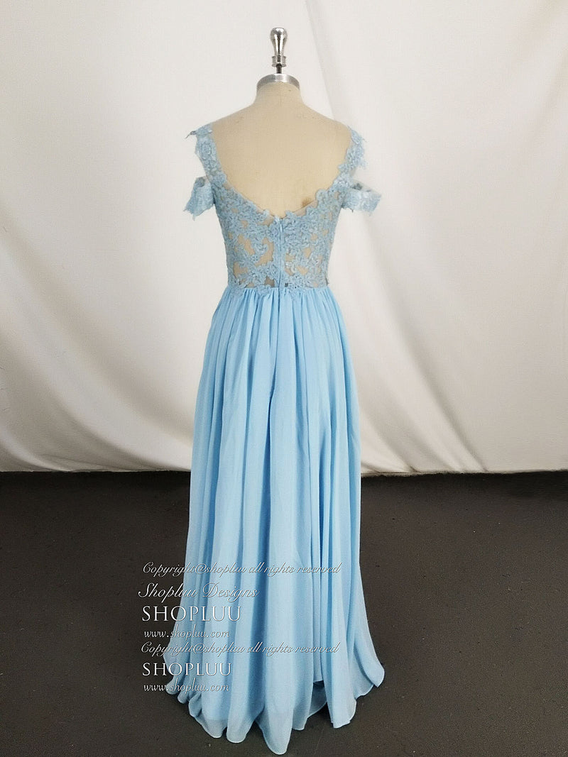 Blue off shoulder lace long prom dress, blue lace bridesmaid dress