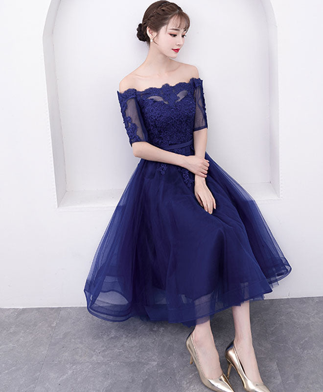Blue tulle lace short prom dress, blue tulle evening dress