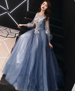 Blue round neck tulle lace long prom dress blue formal dress