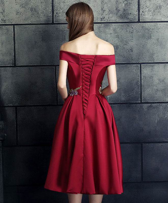 Burgundy lace applique prom dress, burgundy evening dress