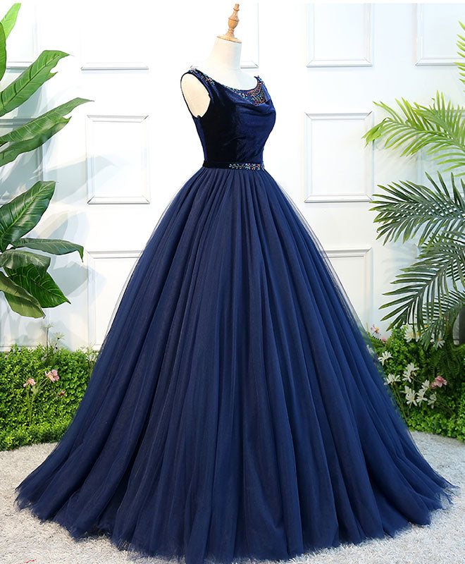 Blue tulle long prom dress, blue tulle evening dress