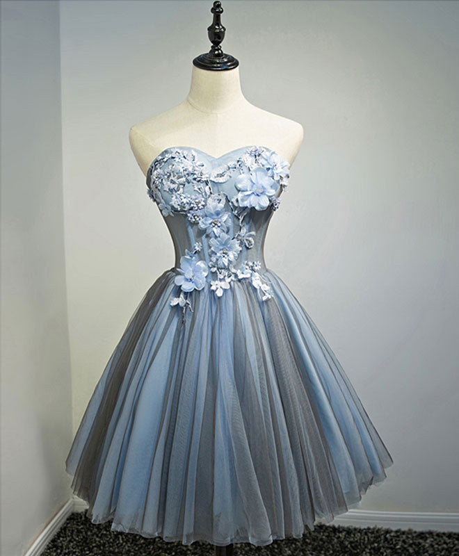 Gray blue sweetheart neck tulle short prom dress, homecoming dress