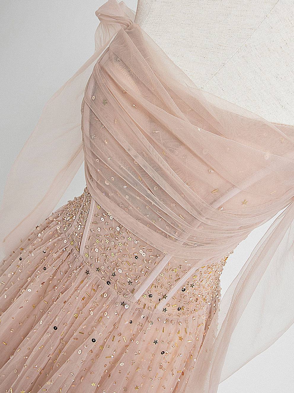 Champagne pink tulle beads long prom dress champagne evening dress