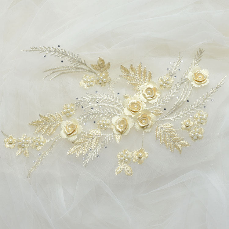 Cute beads lace applique, wedding handmade material