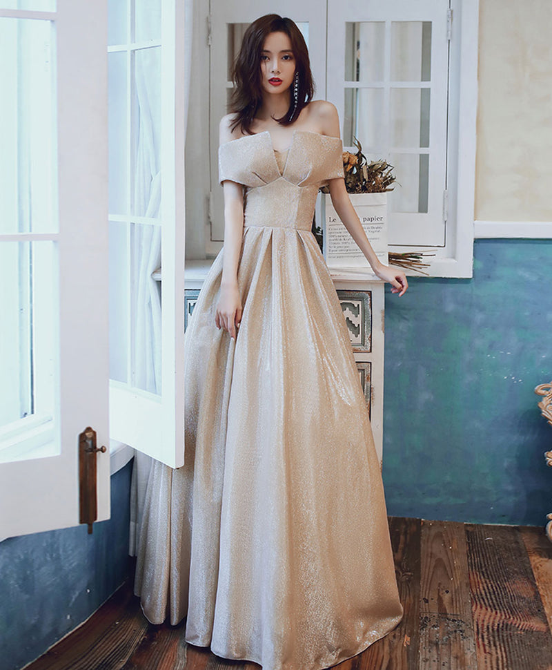 Simple champagne satin long prom dress champagne evening dress