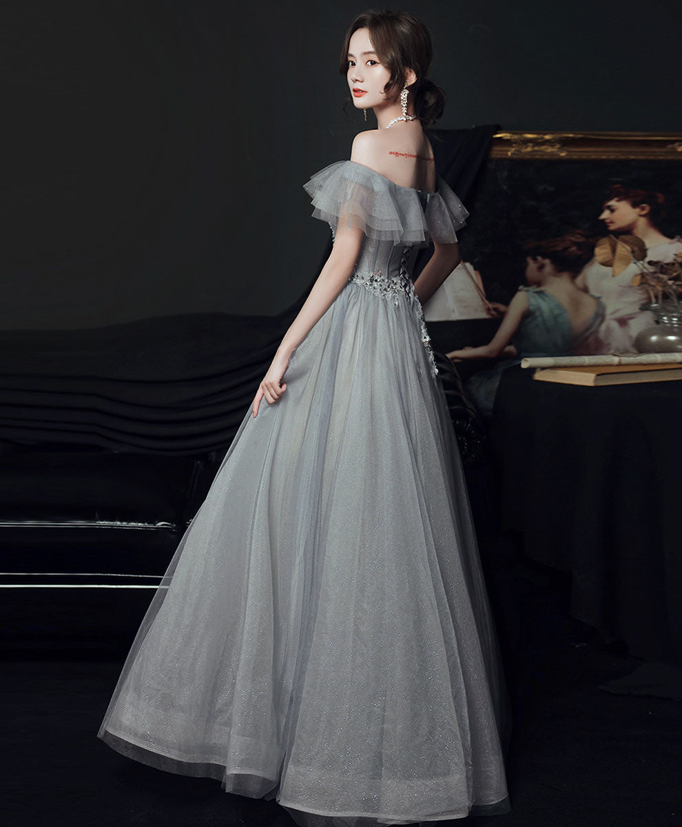 Gray sweetheart tulle lace long prom dress gray evening dress