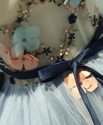Gray blue tulle short prom dress, tulle homecoming dress