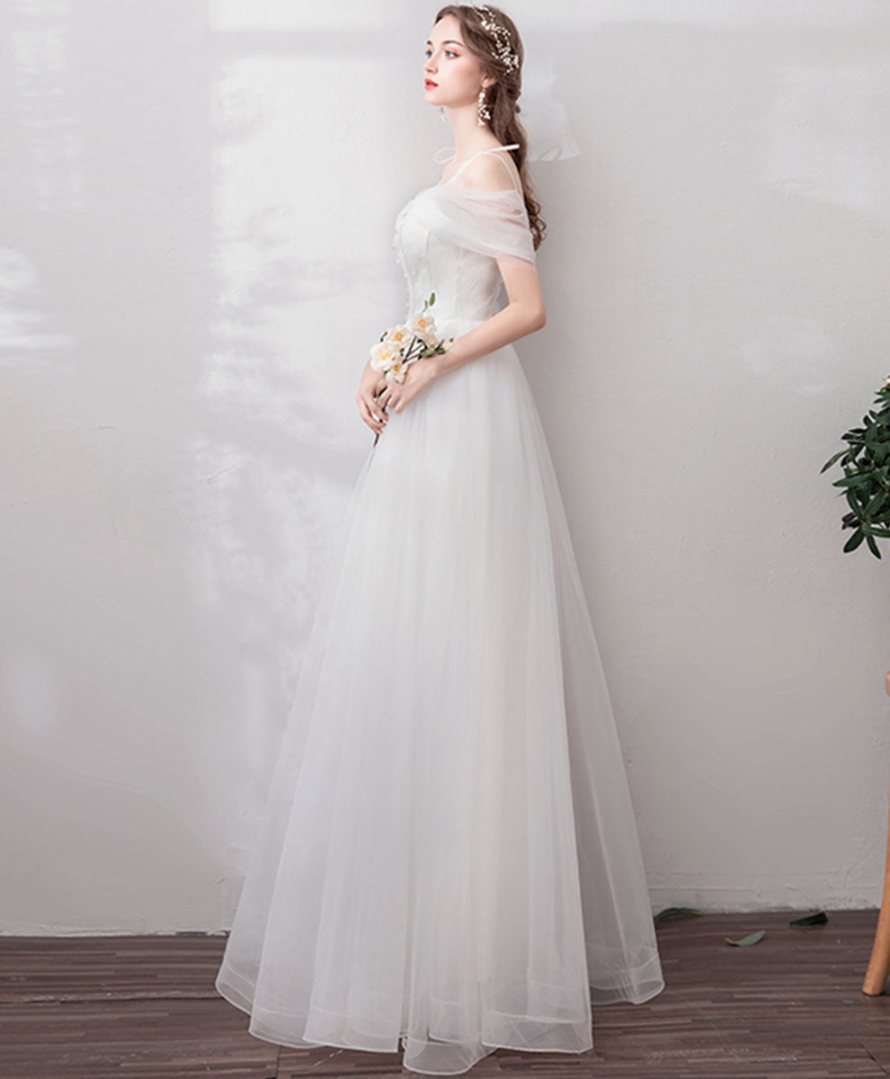 White sweetheart tulle long prom dress white formal dress