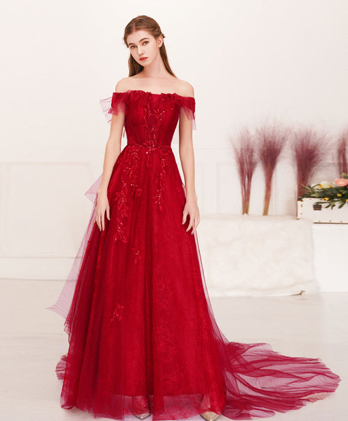 Burgundy tulle lace long prom dress burgundy evening dress