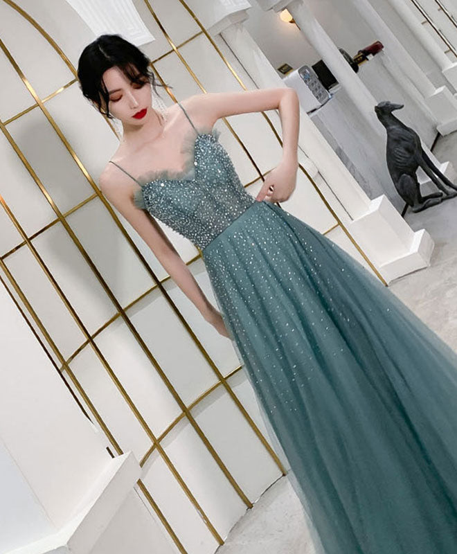 Green sweetheart tulle sequin long prom dress tulle formal dress