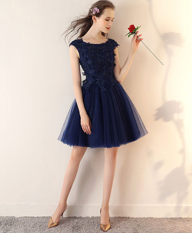 b4e3c780446e Dark blue lace tulle short prom dress, blue short bridesmaid dress