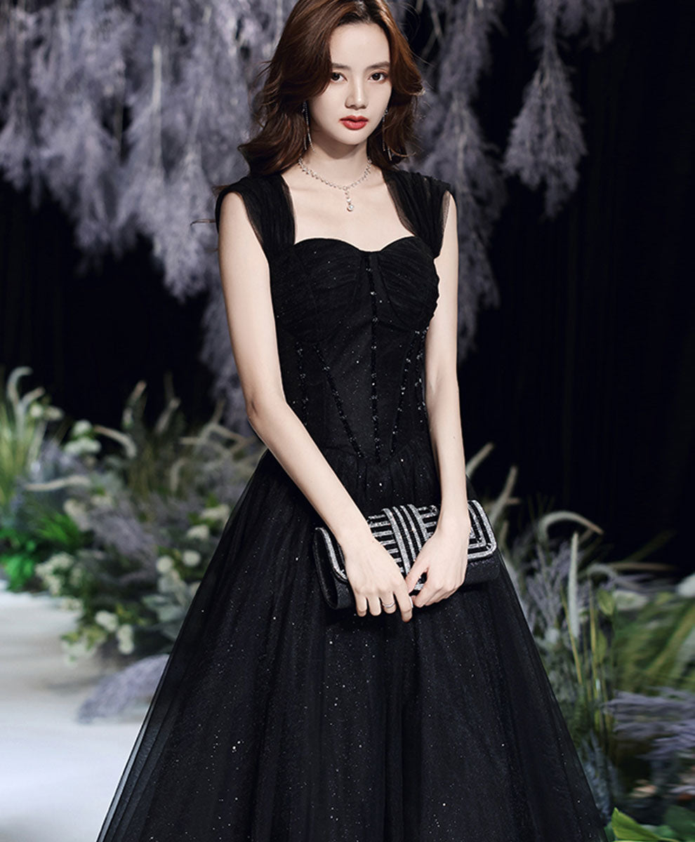 Black tulle lace off shoulder long prom dress black evening dress