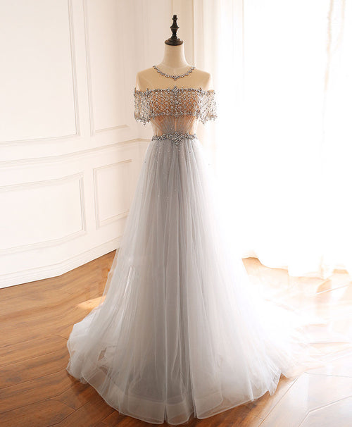 Gray round neck tulle beads long prom dress forma ldress