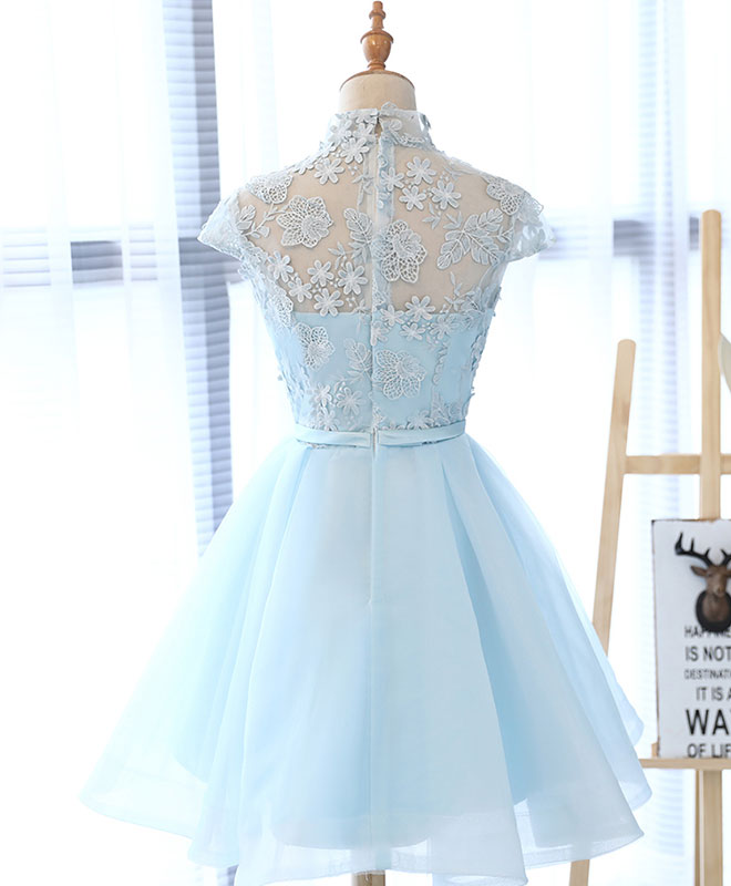 Light blue applique short prom dress, blue homecoming dress