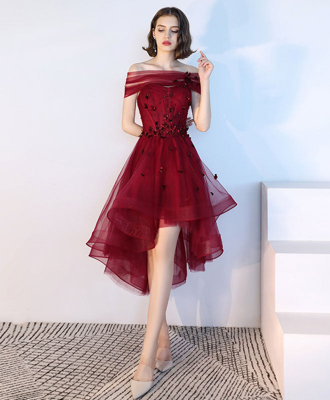Burgundy tulle lace short prom dress, burgundy tulle evening dress