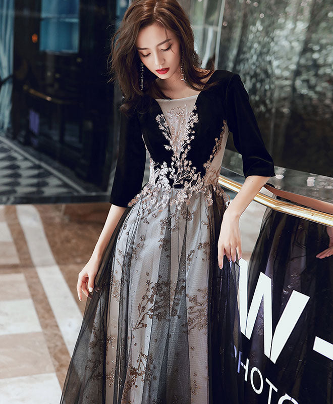 Black round neck tulle long prom dress black evening dress