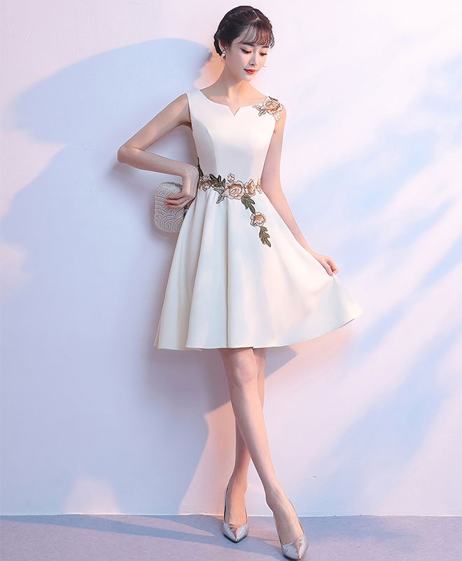 Simple light champagne satin applique short prom dress, cute homecoming dress