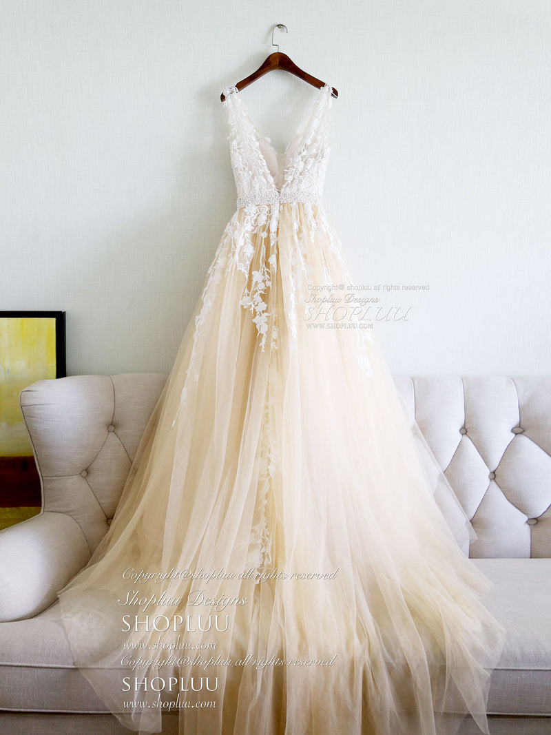 Champagne v neck tulle lace applique long prom dress, evening dress