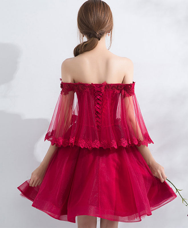 Burgundy off shoulder tulle lace short prom dress, burgundy homecoming dress