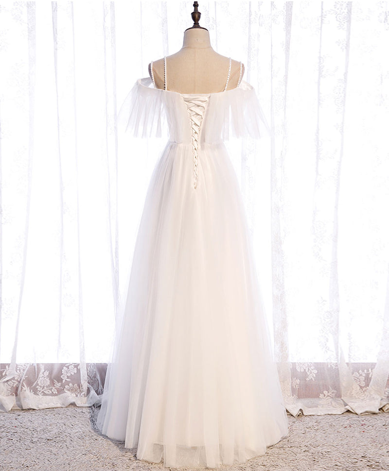 White sweetheart tulle long prom dress white bridesmaid dress