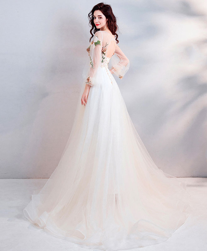 Light champagne tulle lace long prom dress, champagne tulle evening dress