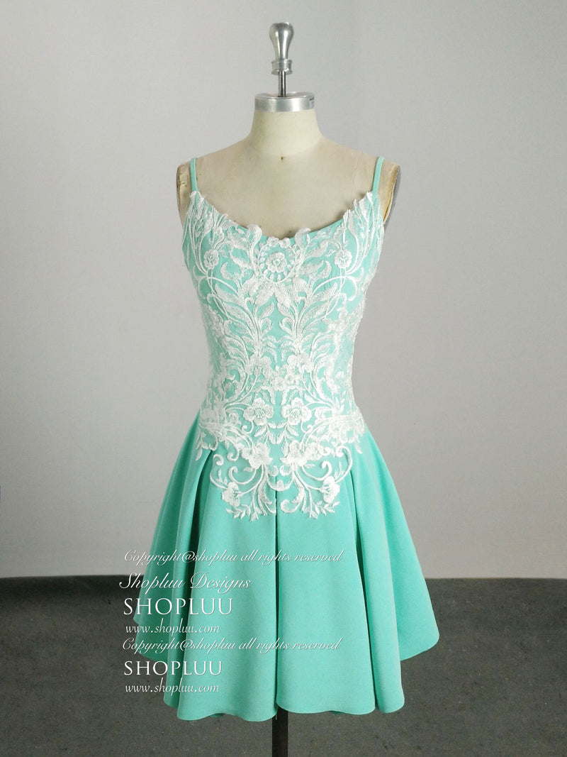 Green lace chiffon short prom dress, green lace homecoming dress