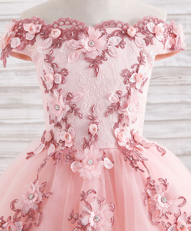 Pink tulle lace applique short flower girl dresses
