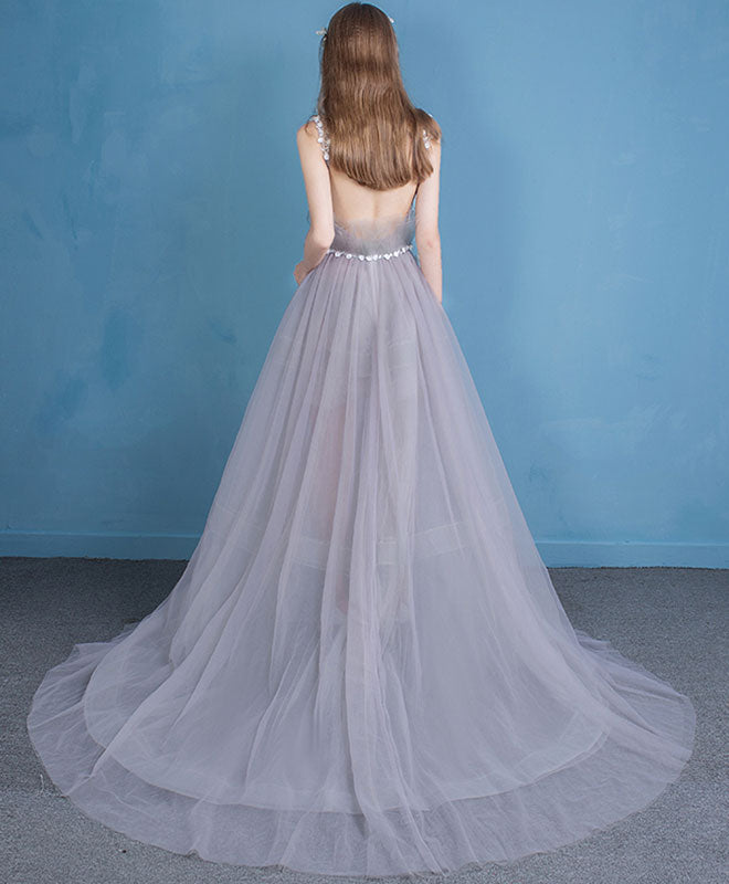 Unique v neck tulle long prom dress, tulle evening dresses