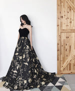 Elegant black sweetheart long prom dress, black evening dress