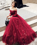Burgundy tulle lace long prom dress, burgundy evening dress