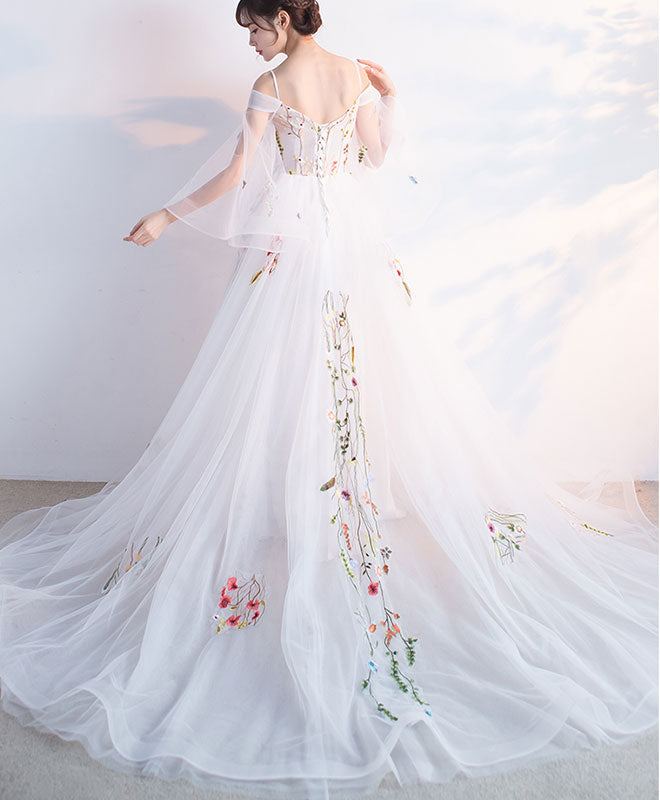 White tulle applique long prom dress, white evening dress