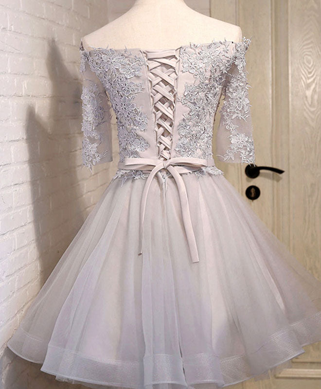 Gray tulle lace applique short prom dress, gray homecoming dress