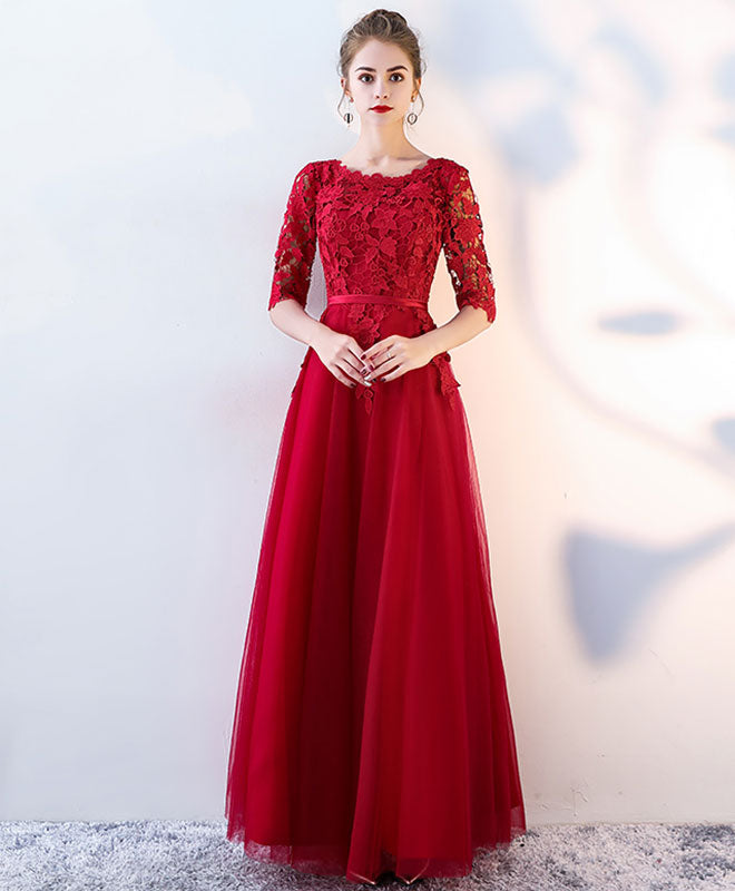 Burgundy lace tulle long prom dress, burgundy tulle evening dress