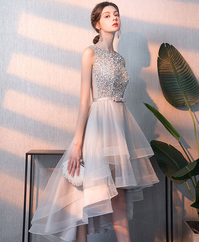 Gray tulle sequin tulle short prom dress, gray tulle evening dress