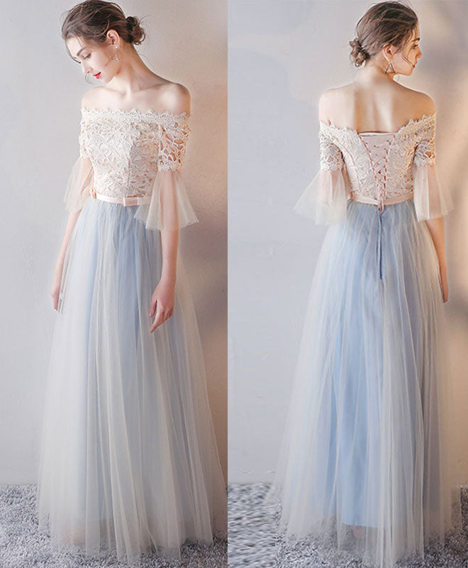 Blue tulle lace long prom dress, blue tulle lace evening dress