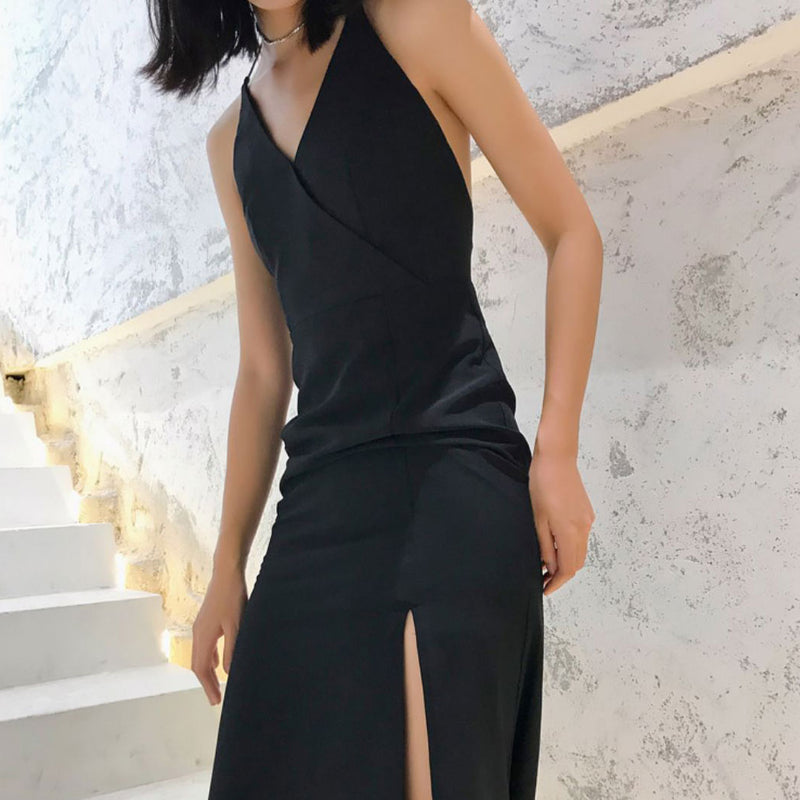 Black mermaid backless long fashion dress, evening dress