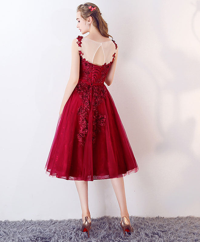 Burgundy round neck tulle lace applique short prom dress
