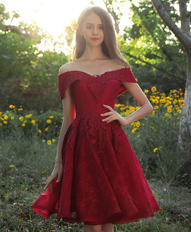 Burgundy tulle lace short prom dress, burgundy bridesmaid dress