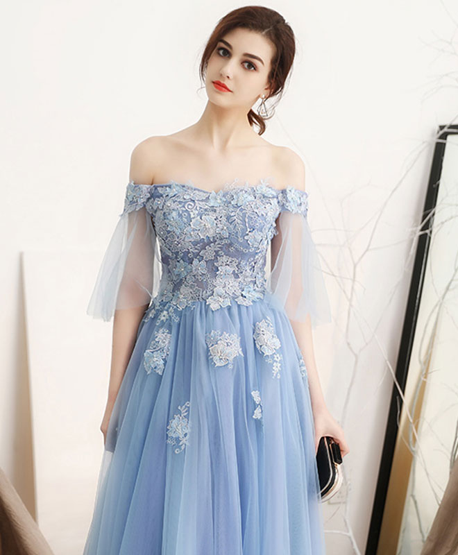 Unique blue off shoulder tulle long prom dress, blue evening dress