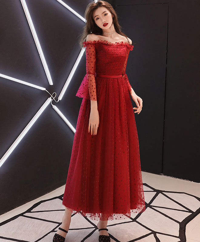 Burgundy tulle lace tea Length prom dress, burgundy evening dress