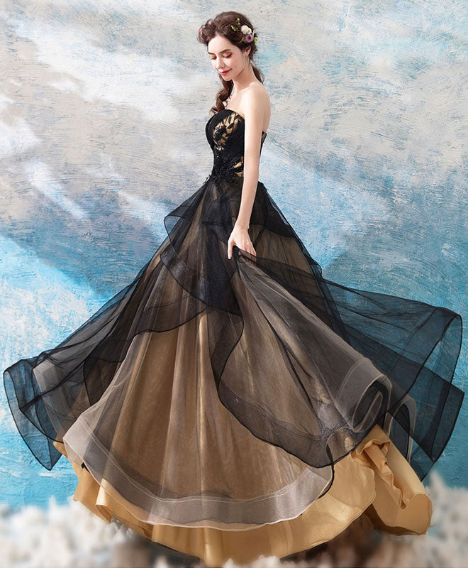 Black sweetheart neck tulle long prom dress, black evening dress
